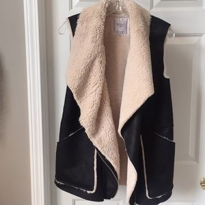 Faux Shearling and Suede Vest